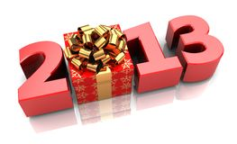 Time for presents. Red 2013 with present box, new year concept Stock Image