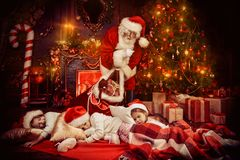 Time for presents at night royalty free stock photos