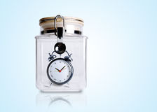 Time preserved in container. Concept for preserve save time Royalty Free Stock Image