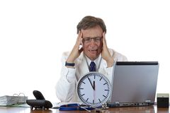 Time pressure for aged male medical doctor Stock Photos