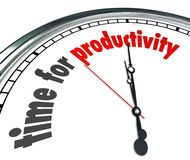 Time for Productivity Clock Efficiency Working Get Results Now. Time for Productivity words on a clock face to illustrate efficiency and working together to Royalty Free Stock Photos