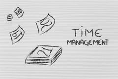 Time and project management for the global business. Calendar pages flying away, representing the role of time management Royalty Free Stock Photos