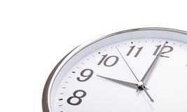 Time punctual second minute hour. Large wall clock on white background. royalty free stock image
