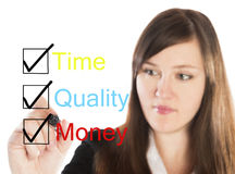 Time quality money concept with business woman Stock Image