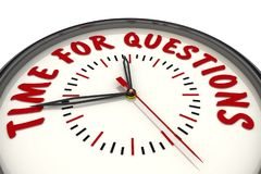 Time for questions. Clock with text stock illustration
