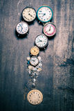 Time and questions mark. On old wooden table royalty free stock images
