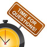 Time For Questions Shows Frequently Questioning And Help Royalty Free Stock Photos