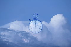 Time ran out. Stop watch out of time in clouds Stock Images