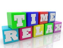 Time relax concept on toy cubes. In backgrounds Vector Illustration