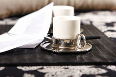 Time of relaxation. Cup of coffee or tea is very popular form of relaxation Royalty Free Stock Images