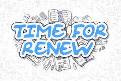 Time For Renew - Doodle Blue Word. Business Concept. Stock Photos