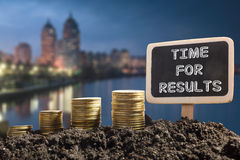 Time for results - Financial opportunity concept. Golden coins in soil Chalkboard on blurred natural background. Royalty Free Stock Photos