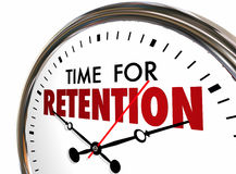 Time for Retention Clock Keep Hold Onto Customers Employees 3d I Stock Photography