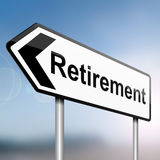 Time for retirement. Illustration depicting a sign post with directional arrow containing a retirement concept. Blurred background Royalty Free Stock Image