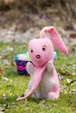 Time for Retirement, Easter Bunny Getting Older. Vintage plush Easter bunny that lost his ear.  Great for many different concepts, i.e. contemplating retiring Stock Photos