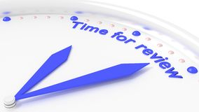 Time for review clock reminder closeup with 2 blue hands Stock Photos