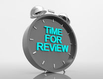 Time for Review. 3d word concept with alarm clock Royalty Free Stock Photos