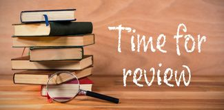 Composite image of time for review text on white background Stock Photo