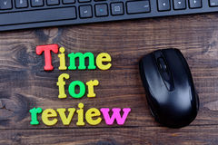 Time for review words on table Stock Photos