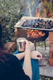 Time for roasted chestnuts and coffee Stock Photography