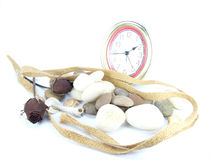 Time rock and rose on background. Time rock and rose on white background Stock Photo