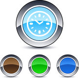Time round button. Time glossy round web buttons vector illustration