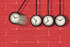 Time Running Concept. Time concept, clock moving on red brick wall Royalty Free Stock Photos