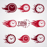 Time is running out concept, vector timers with burning flame. E. Ps 8 clear vector illustrations. Set of deadline theme stylized illustrations Stock Photography