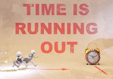 Time is running out, 3d rendering. Worker runnig for deadline, 3d rendering Stock Image