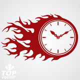 Time runs fast concept, vector timer with burning flame. Eps 8 h. Ighly detailed vector illustration. Deadline theme stylized illustration Stock Photography