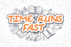 Time Runs Fast - Doodle Orange Word. Business Concept. Royalty Free Stock Photography
