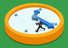 Time rush flat 3d web isometric infographic concept. Business man running away on clock from big hand. Creative people collection Royalty Free Stock Images