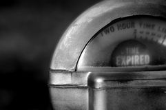Time's up. Close up of parking meter showing that the time has run out stock photo