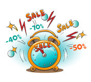 Time of sale on alarm clock Royalty Free Stock Photography