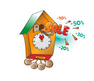 Time of sale on clock Royalty Free Stock Photos
