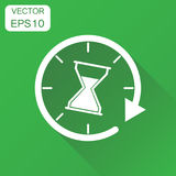 Time sandglass icon. Business concept clock hourglass pictogram. Vector illustration on green background with long shadow Stock Photography