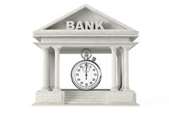 Time Save Concept. Bank Building with stopwatch Stock Photo