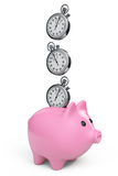Time Save Concept. Piggy Bank with Stopwatch Royalty Free Stock Images