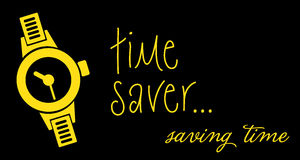 Time saver. Abstract colorful background with yellow hand watch and the text time saver written on a black background Stock Photography