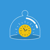 Time saving concept illustration, in a glass dome Stock Photos