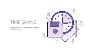Time Saving Web Banner With Copy Space Business Scheduling Management Concept. Vector Illustration Royalty Free Stock Images
