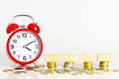 TIME FOR SAVINGS. Watch and coins copy space concept for saving fund, financial, banking, investment, money or other your content. Malaysia coins Stock Image