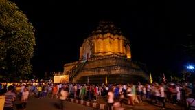 Time-schackningsperiod av den thailändska berömda pagodappellen Wat Chedi Luang arkivfilmer