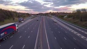Time-schackningsperiod video av motorwayen M1 arkivfilmer