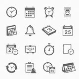 Time and Schedule stroke symbol icons set Royalty Free Stock Images