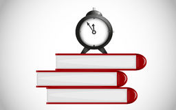 Time for school. Alarm clock on books Royalty Free Stock Images