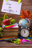 Time for school concept with text on wooden background Royalty Free Stock Photos