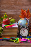 Time for school concept on wooden background Stock Photo