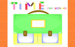 Time for school. Orange background with schoolbag for students preparing to school Royalty Free Stock Image