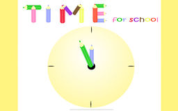 Time for school. Yellow background for students preparing to school Royalty Free Stock Image